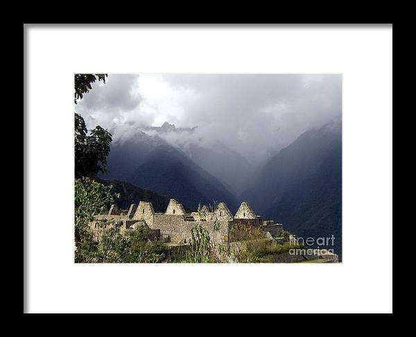 Machu Picchu Framed Print featuring the photograph Sacred Mountain Echos by Barbie Corbett-Newmin