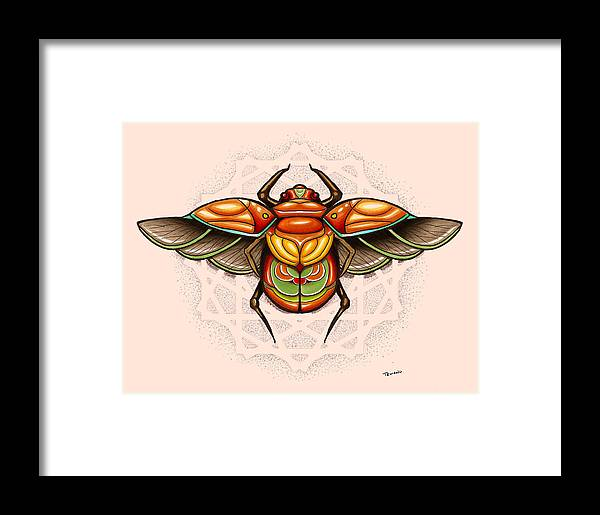 Sacred Framed Print featuring the painting Sacred Scarab by Matt Truiano