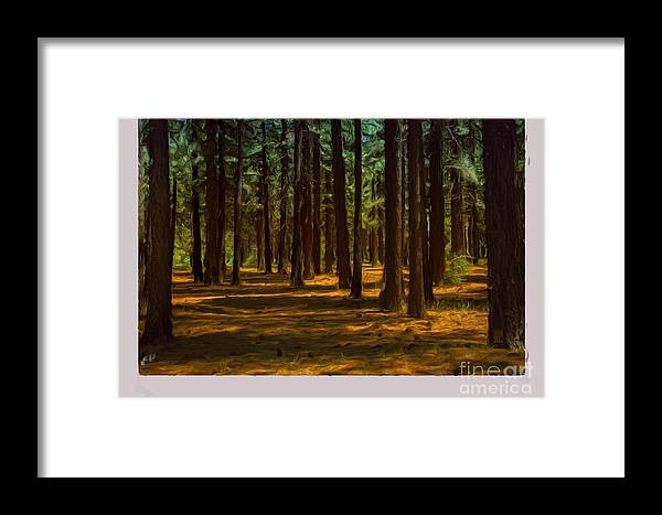 Big Bear Framed Print featuring the painting Sacred Warrior Grove by Joel Leslie