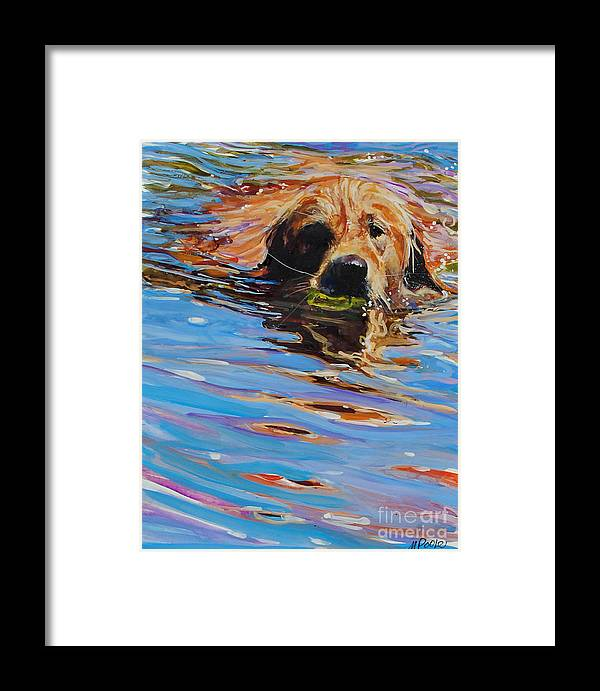 Golden Retriever Framed Print featuring the painting Sadie Has A Ball by Molly Poole
