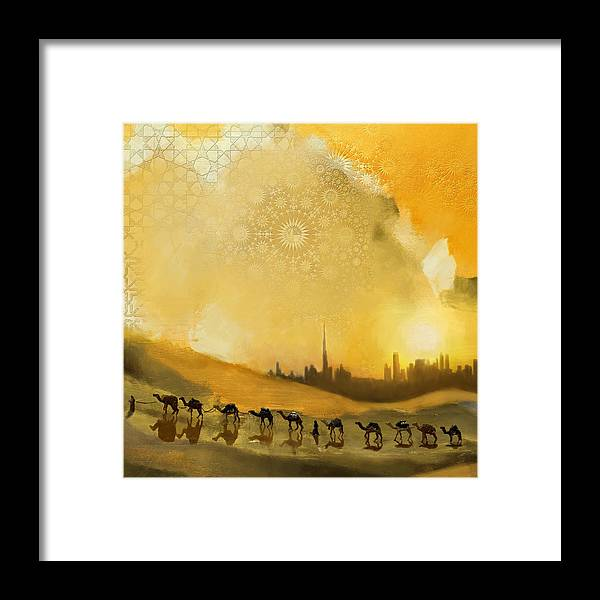 Dubai Expo 2020 Framed Print featuring the painting Safari Desert by Corporate Art Task Force