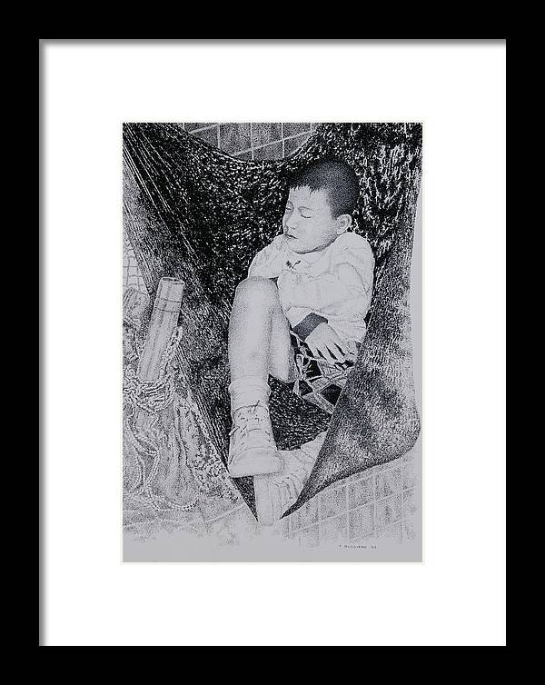 Tot Child Sleeping Boy Framed Print featuring the painting Safety Net by Tony Ruggiero