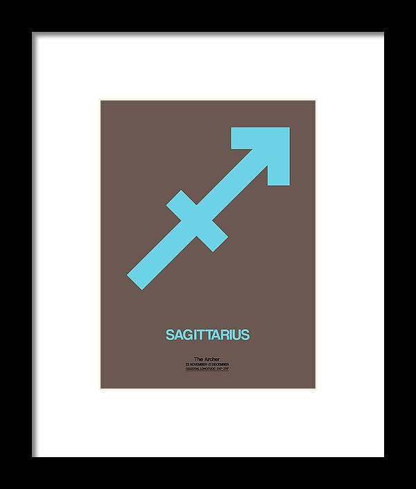 Sagittarius Framed Print featuring the digital art Sagittarius Zodiac Sign Blue by Naxart Studio