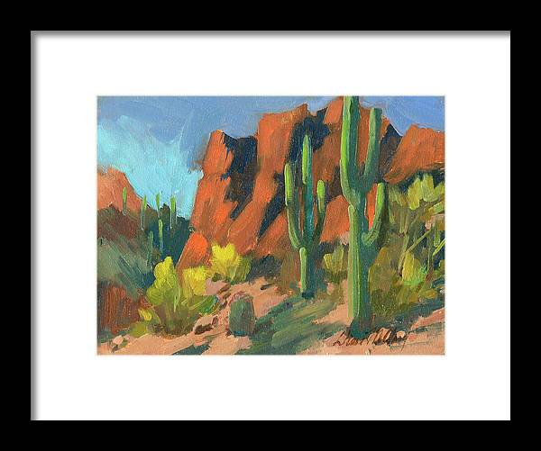 Saguaro Cactus Framed Print featuring the painting Saguaro Cactus 1 by Diane McClary