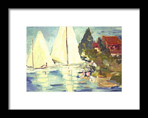 Seascape Framed Print featuring the painting Sail Away by Janice Stanley