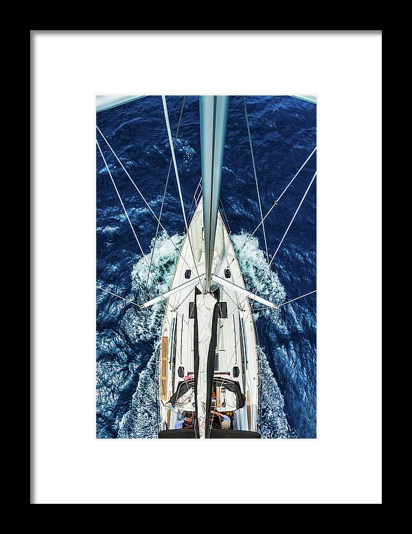 Adriatic Sea Framed Print featuring the photograph Sailboat From Above by Mbbirdy