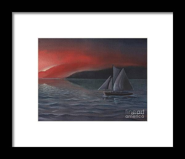 Silboat Framed Print featuring the painting Sailboat In Sunset by Christian Simonian