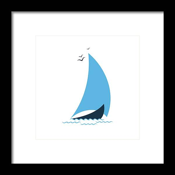 Curve Framed Print featuring the digital art Sailboat In The Sea. Concept For The by Liubov Trapeznykova