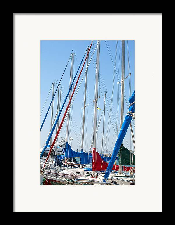 Sailing Framed Print featuring the photograph Sailboat Masts by Artist and Photographer Laura Wrede