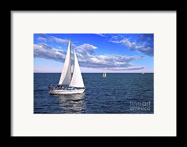 Boat Framed Print featuring the photograph Sailboats At Sea by Elena Elisseeva