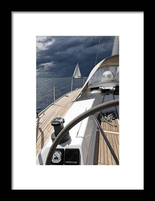 Adriatic Sea Framed Print featuring the photograph Sailboats In Mediterranean Sea by Vuk8691