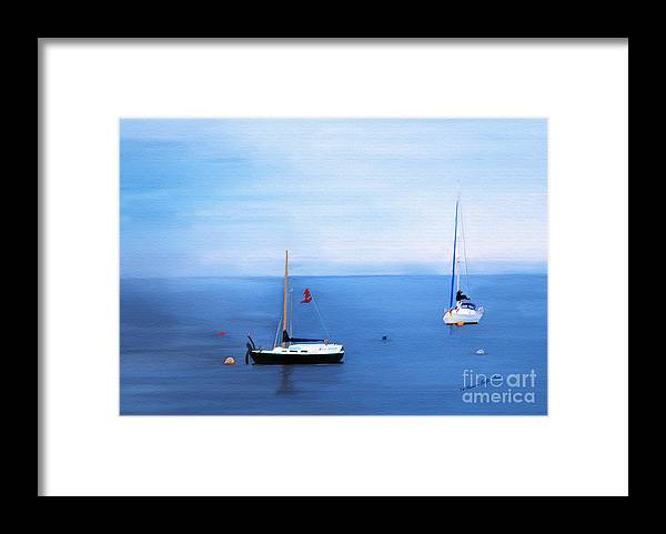 Fine Art Framed Print featuring the painting Sailboats in Skerries Harbor- mixed media photography by Patricia Griffin Brett