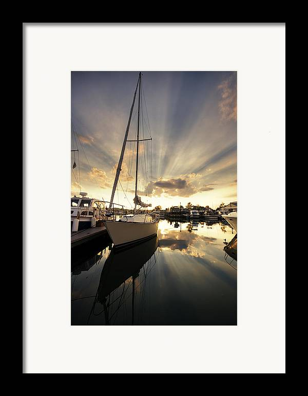 Sailboat Framed Print featuring the photograph Sailed In by Alexey Stiop