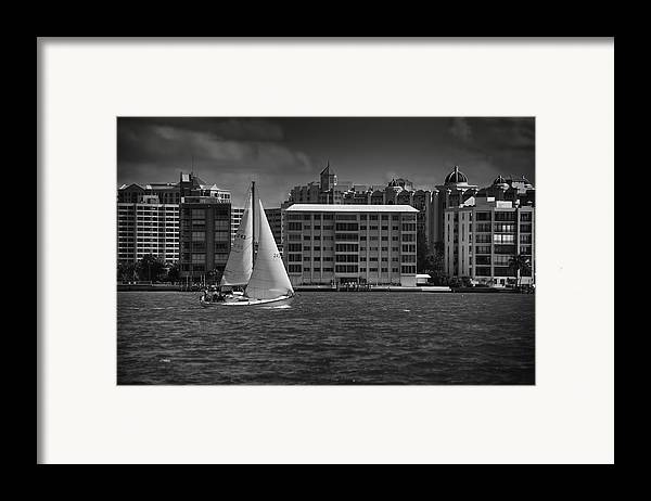 B&w Framed Print featuring the photograph Sailing Away by Mario Celzner