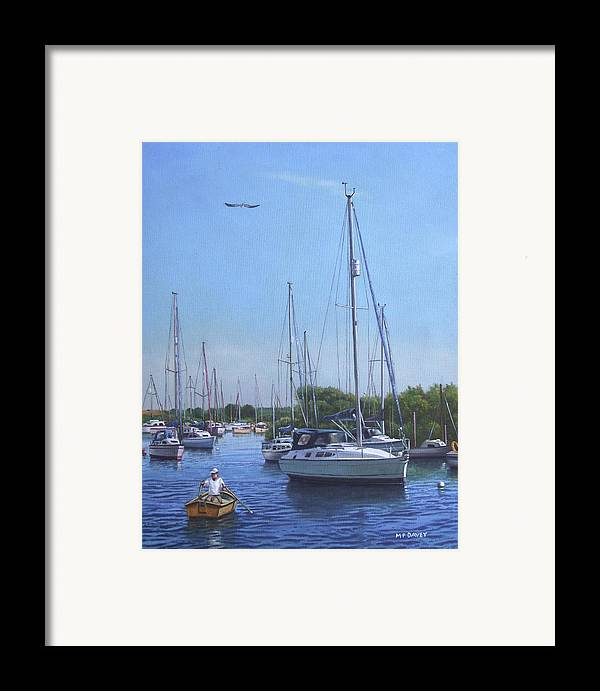 Christchurch Framed Print featuring the painting Sailing Boats At Christchurch Harbour by Martin Davey