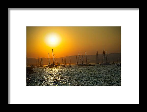Active Framed Print featuring the photograph Sailing Boats On Sea At Sunset by Ioan Panaite