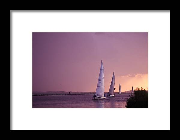 Sailboat Framed Print featuring the photograph Sailing From The Sun by Kelly Reber