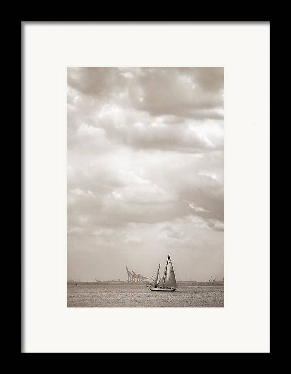 Sailing Framed Print featuring the photograph Sailing In New York Harbor - Nautical by Gary Heller