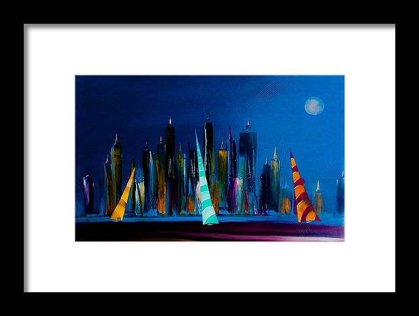 Sailing Framed Print featuring the painting Sailing New York 3 by Barry Knauff