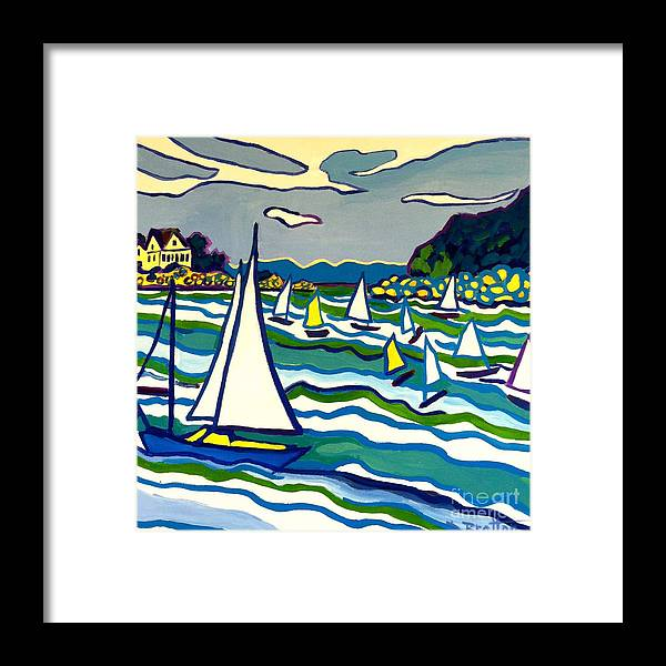 Landscape Framed Print featuring the painting Sailing School Manchester by-the-sea by Debra Bretton Robinson