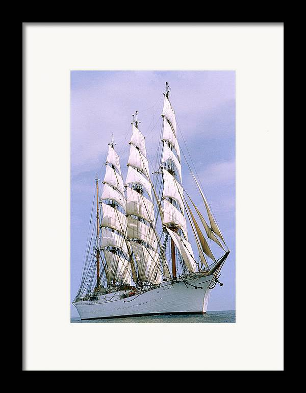 Boat; Outdoors; Outside; Sail; Sailing Ship; Sails; Ship; Vessel; Water; Waterway & Maritime Transport Framed Print featuring the photograph Sailing Ship by Anonymous