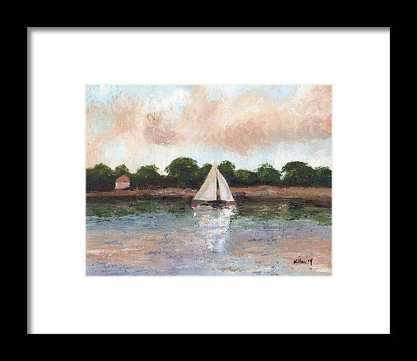 Surrealist Framed Print featuring the painting Sailing The Lagoon by William Killen