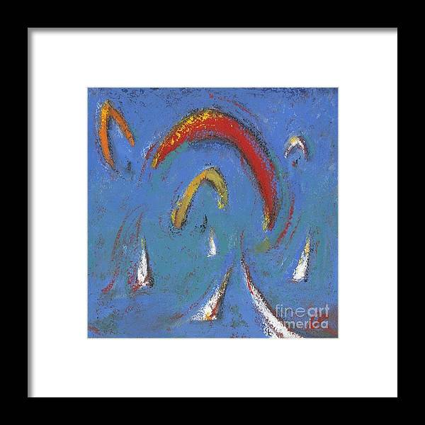 Sails Framed Print featuring the painting Sails And Kites 5 by Diane STEVENETT
