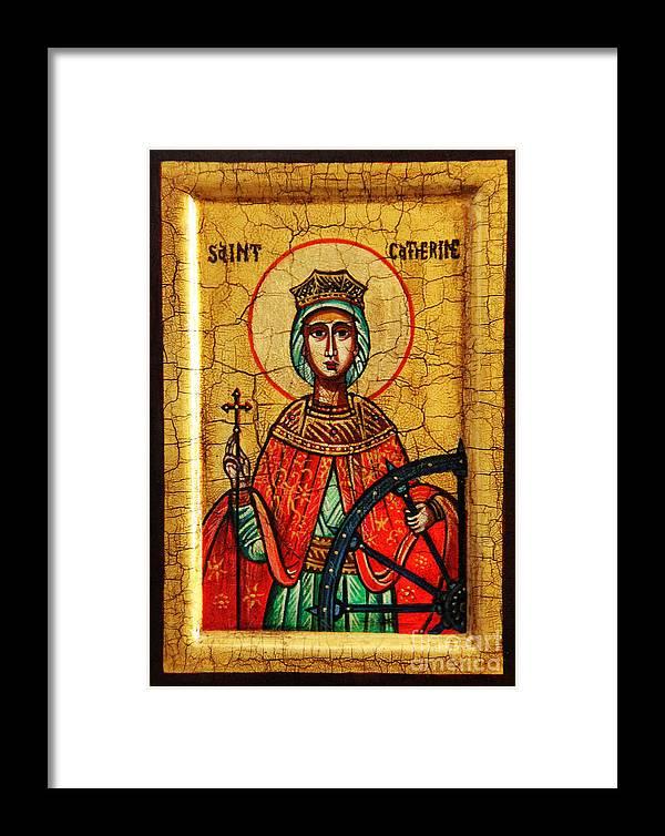 Saint Catherine Icon Framed Print featuring the painting Saint Catherine Of Alexandria Icon by Ryszard Sleczka