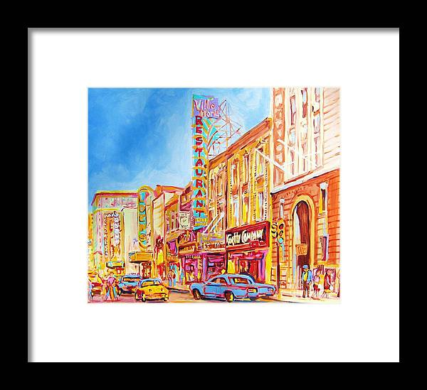 Paintings Of Montreal Framed Print featuring the painting Saint Catherine Street Montreal by Carole Spandau