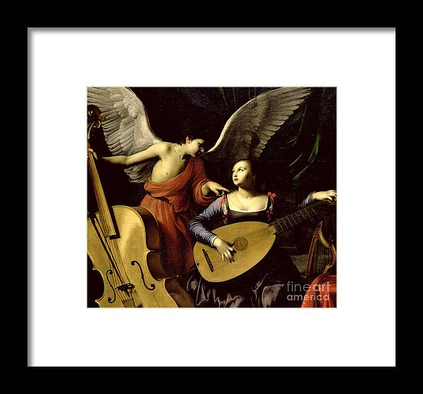 St Framed Print featuring the painting Saint Cecilia And The Angel by Carlo Saraceni