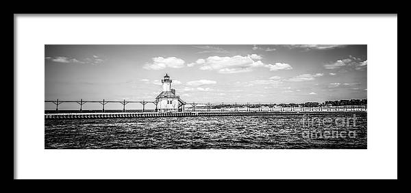 Great Lakes Framed Print featuring the photograph Saint Joseph Lighthouse Retro Panoramic Photo by Paul Velgos