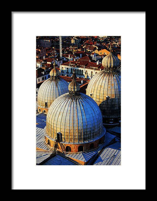 The Three Domes Framed Print featuring the photograph Saint Mark's Domes by Jillian Barrile