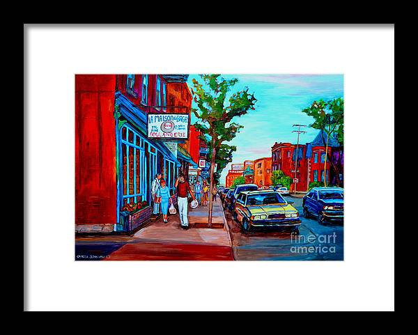 St.viateur Bagel Shop Framed Print featuring the painting Saint Viateur Bagel Shop by Carole Spandau