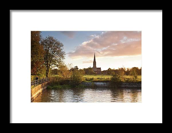 Tranquility Framed Print featuring the photograph Salisbury Cathedral And The River Avon by Julian Elliott Photography