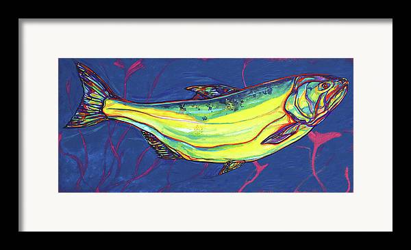 Salmon Framed Print featuring the painting Salmon Of Knowledge by Derrick Higgins