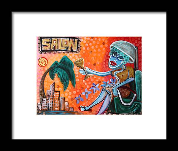 Hairdresser Framed Print featuring the painting Salon by Laura Barbosa