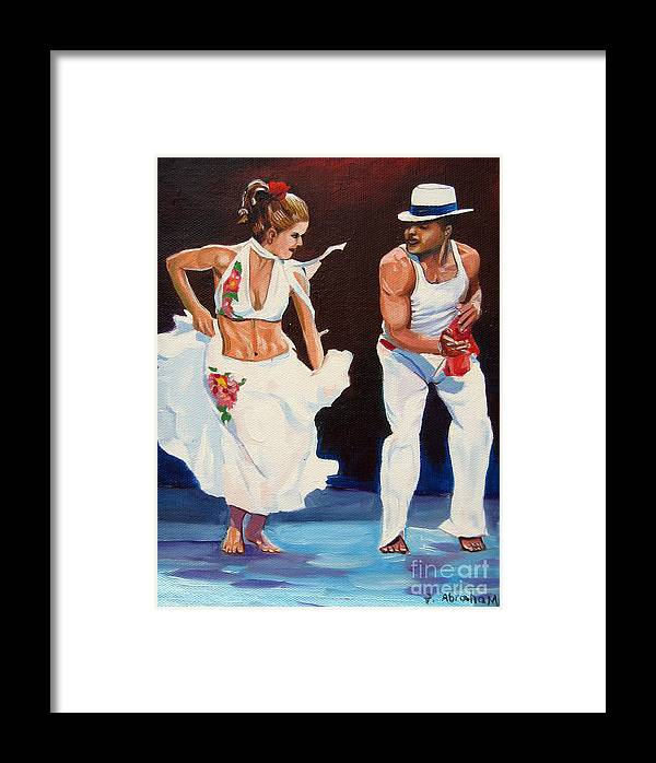 Dancing Framed Print featuring the painting Salsa by Jose Manuel Abraham
