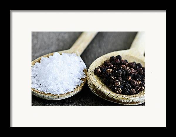 Peppercorns Framed Print featuring the photograph Salt And Pepper by Elena Elisseeva