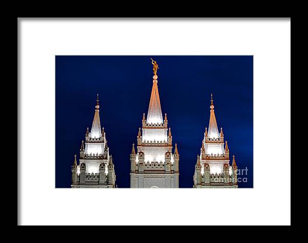 Lds Framed Print featuring the photograph Salt Lake Lds Mormon Temple At Night by Gary Whitton