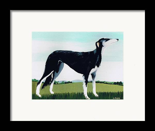 Saluki Cross Framed Print featuring the painting Saluki Cross by Maggie Rowe