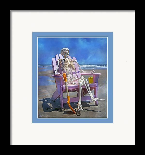 Skeleton Framed Print featuring the photograph Sam Enjoys The Beach -- Again by Betsy Knapp