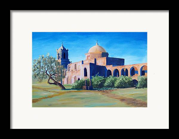 Landscape Framed Print featuring the painting San Antonio Mission by Scott Alcorn