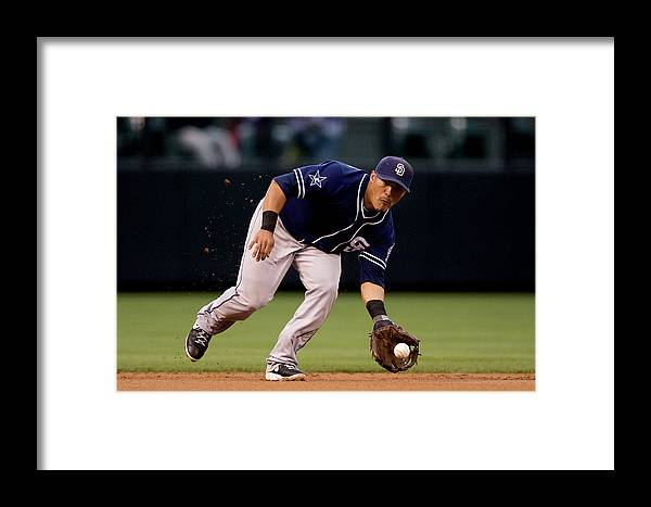 Ball Framed Print featuring the photograph San Diego Padres V Colorado Rockies by Justin Edmonds