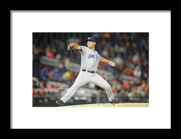 Baseball Pitcher Framed Print featuring the photograph San Diego Padres V. Washington Nationals by Mitchell Layton