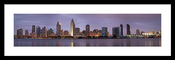 3scape Framed Print featuring the photograph San Diego Skyline At Dusk Panoramic by Adam Romanowicz