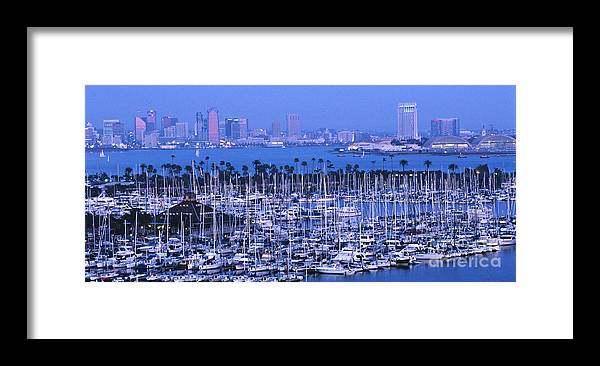 Panoramic Framed Print featuring the photograph San Diego Twilight by Sandra Bronstein
