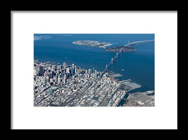 San Framed Print featuring the photograph San Francisco Bay Bridge Aerial Photograph by John Daly