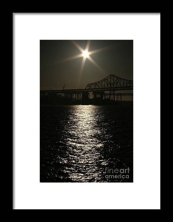 San Francisco Framed Print featuring the photograph San Francisco Bay Bridge Construction Under The Moonlight by Cynthia Marcopulos