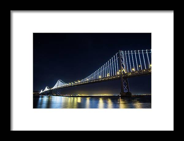 California Framed Print featuring the photograph San Francisco Bay Bridge With Led Lights by Halbergman