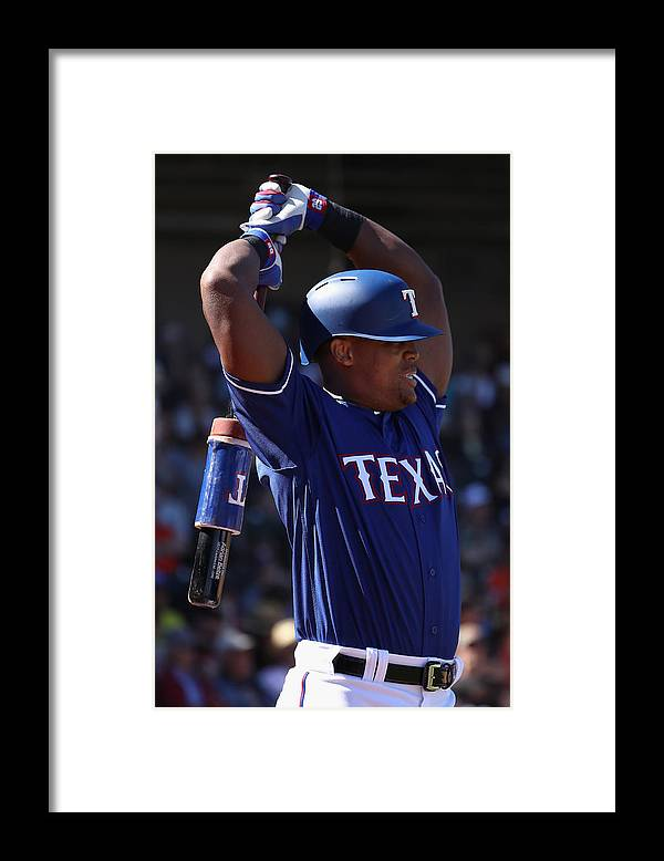 Adrian Beltre Framed Print featuring the photograph San Francisco Giants v Texas Rangers by Christian Petersen